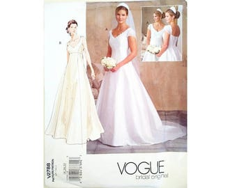 """UNCUT Vogue Bridal Original 2788 Wedding Dress Bridal Gown with / without Train Sewing Pattern Plus Size Bust 40"""" 42"""" 44"""" UK 18 20 22"""