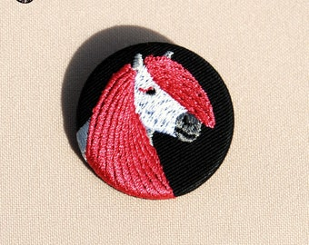 Small embroidered pony Fuchia Portrait brooch