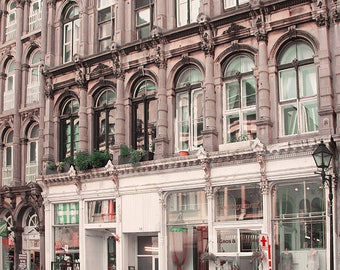 Montreal Photography - French Fine Art Print, Old Port, Rue Notre Dame, Building Facade, Village, French Country, Chic, Boutiques, Bicycle