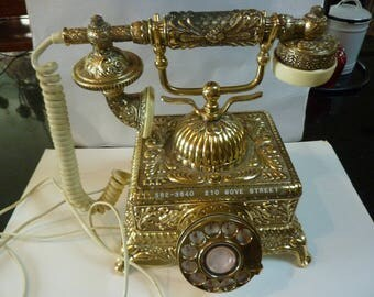 VINTAGE GOLD French Style Rotary Dial Phone