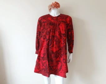 SALE Vintage red mini dress | paisley print long sleeve boho dress