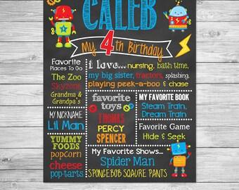 Toy Robot Birthday Chalkboard Poster Printable, Robot Birthday Chalkboard Printable Sign, Robot Birthday
