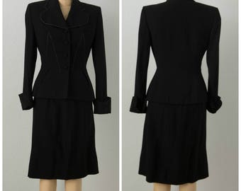 1950s Black Lilli Ann suit with White Contrasting Stitching