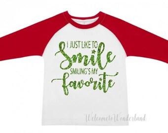 SMILING'S My Favorite ELF Holiday Christmas funny kids girls baby kid mens ladies  Bodysuit or Tee T Shirt Raglan