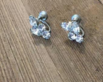 Vintage Silver Tone Faux Diamond Rhinstone Leaf Screw On Earrings