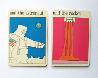 Astronaut and Rocket - Vintage Space Travel MOMA Art Cards - Typography Art - Museum of Modern Art - Childrens Room Decor - Retro Sci Fi Art