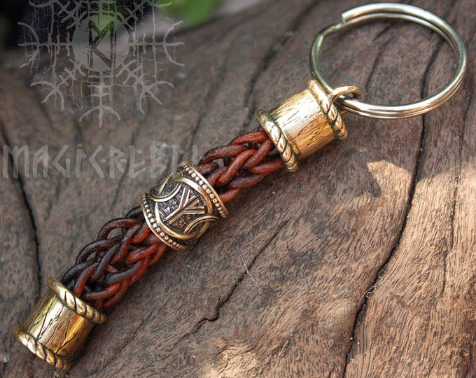 Bronze Beads Runes Teiwaz Algiz Handmade Braided Brown Genuine Leather Keychain Knot