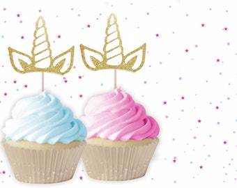 Unicorn Horn Cupcake Toppers - Unicorn Cupcake Toppers, First Birthday Cupcake Toppers, Unicorn Party, Unicorn Horn Toppers