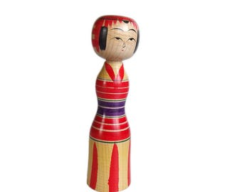 Colorful Tight Waisted Vintage Kokeshi Doll. Dento Kokeshi. Yajiro Kokeshi. Japanese Doll. Japanese Kokeshi Doll. Vintage. Wood Doll.