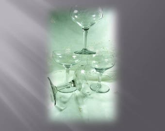 Vintage, circa. 1930, Champagne, Wine, Martini set of 4 ea. Glasses, Etched Grape Design