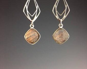 Art Deco Earrings - Sterling Earrings - Art Deco Jewelry - Bridal Earrings - Gift Under 50 - Party Jewelry - Holiday wear - New Year Drop