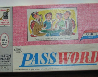 Password Game Show Home Version Third Edition 1963 Vintage Milton Bradley 4260