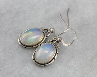 Opal Drop Earrings, Sterling Silver Earrings, Birthstone Earrings 6FJDTX-P