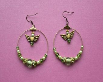 Green Hoop Earrings, Green hoops, large hoop earrings, circle earrings, beaded earrings, green earrings, green wedding earrings, bridesmaid