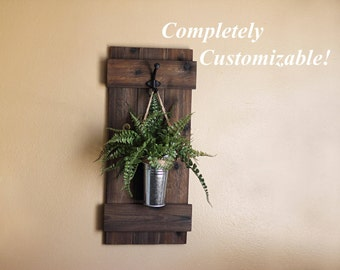 rustic wall decor plant hanger wooden planter wall sconce rustic home decor
