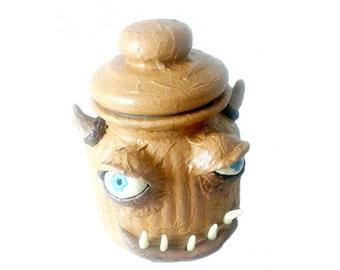 Monster stash jar with horns and glow in the dark teeth, brown mixed media jar with horns
