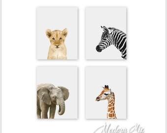 Safari Nursery Decor, Nursery Wall Art, Baby Animal Prints, Jungle Animals, 8x10 Wall Decor, Kids Room Lion Elephant Zebra Giraffe Set of 4