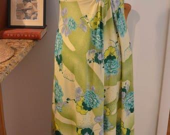Vintage 1970s Hawaiian green cream floral sleeveless maxi dress M medium