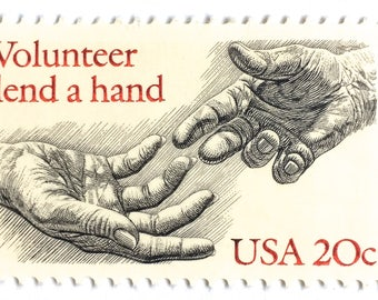 10 Unused Vintage Volunteer Postage Stamps // Volunteer to Lend a Hand // 20 Cent Postage for Crafting or Mailing