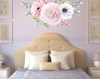Flower Wall Decal, Floral Wall Decal, Watercolor Wall Decals, Flower Wall Stickers, Watercolor Flower Wall Decal, Nursery Wall Decal 04-0007