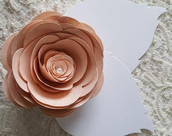 25 BLUSH PAPER FLOWERS Large