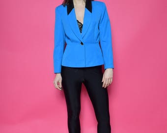 Vintage 80's Turquoise Button Jacket / Blue Button Blazer - Size Medium