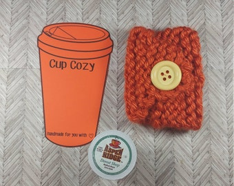 Orange Mug Cozy- Orange Coffee Cup Cozy- Knitted Coffee Cup Cozy