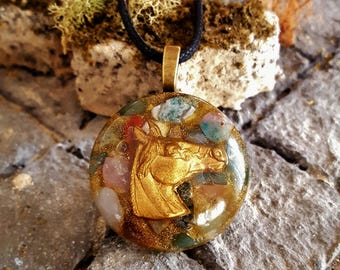 Jasper Horse Power Orgone Energy Pendant Necklace