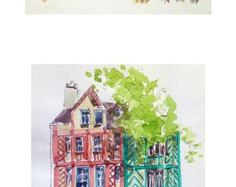 Lot of half timbered houses of Rennes Brittany original glicée prints 2 painting prints Brittany wall decor print french decor france