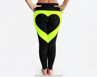 Black heart leggings, glow in the dark, heart shape leggings, blacklight clothes, black leggings, dance leggings, sexy running pants