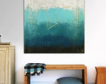 """Original Abstract Painting - Ready to Hang - Canvas Wall art - Deep Blue and White - Textured - Square Art 90"""" - Modern Art - Ronald Hunter"""