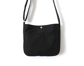 Small Canvas Crossbody Bag Purse Black