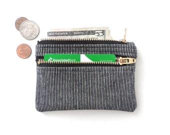 Slim Zip Wallet Pouch Double Zipper Coin Purse Black Stripe