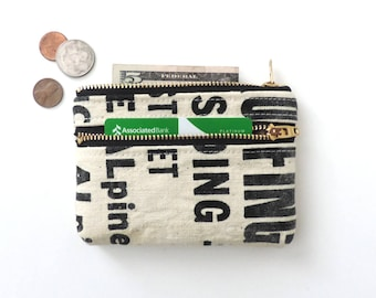 Canvas Coin Purse Wallet Double Zipper Pouch Recycled Lumber Apron