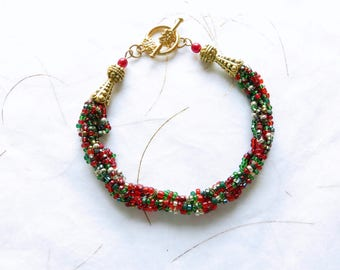 Christmas Bracelet - CIJ - Gifts for Her - Kumihimo Bracelet - Red Gold Green Bracelet - Holiday Jewelry - Christmas in July - Toggle Clasp