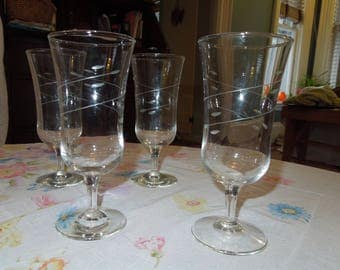 "RARE- Vintage Libbey Rock Sharpe ""Interlude"" Parfait/Wine/Champagne Glass - Set of 4"