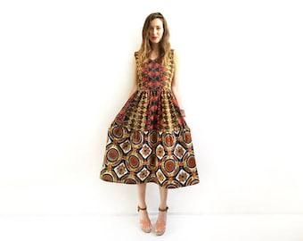 African Print Dress, Orange Dress, Print Dress, Unique African Midi Dress, Party Dress, Brown Dress, Wedding Guest Dress, XS S M M+