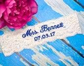 Monogrammed Garter   Wedding Garters   Something Blue   Bridal Garter   Monogram   Personalized Garter