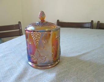 Vintage Carnival glass cannister