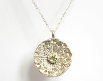Dandelion and peridot pendant//solid silver necklace//semi precious stone setting
