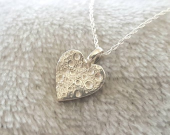 Sea urchin texture heart shaped necklace//solid silver heart pendant