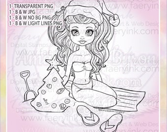 Christmas at the Beach UNCOLORED Digital Stamp Image Adult Coloring Page jpeg png jpg Craft Cardmaking Papercrafting DIY