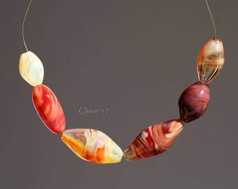 Agate pattern mixed Blown Bead set - Borosilicate glass in red, maroon, cream, ivory, amber - S255
