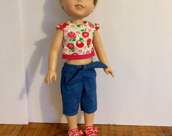 "Wellie Wisher sized outfit. Cherry top with jean capris. 14"" doll outfit. Handmade."