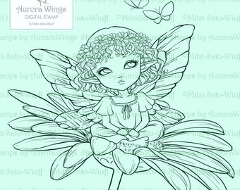 Digital Stamp - Daisy Elf - Big Eye Fairy with Floral Wreath Sitting on Daisy - Fantasy Line Art for Cards & Crafts by Mitzi Sato-Wiuff