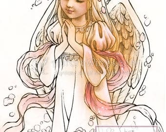 Digital Stamp - Instant Download - Rose Angel - digistamp - Young Angel with Roses - Line Art for Cards & Crafts by Mitzi Sato-Wiuff