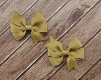 Kaki Hair Clips, Kaki Bow Clips, Kaki Pigtail Bows, Tan Pigtail Bows, Tan Hair Clips, Tan Hair Bows, Kaki Hair Bows, Uniform Hair Bows
