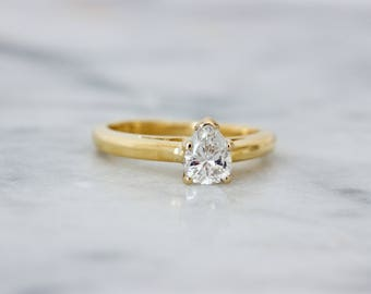 Pear Engagement Ring | Vintage Diamond Ring | Teardrop Ring | Diamond Solitaire Ring | Eco Engagement Ring | 18k Yellow Gold Ring |Size 5.25