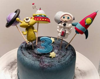 Space Cake Topper Set, Alien Cake Topper, Astronaut Topper, Rocket Topper, Boys Birthday Cake, Galaxy Cake Topper Set, Space Theme Party