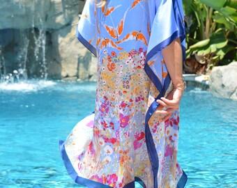 Birds in Flight Swimsuit Coverup Womens Beach Coverup Silky Caftan Beach Kaftan Blue Tunic Beach Dress